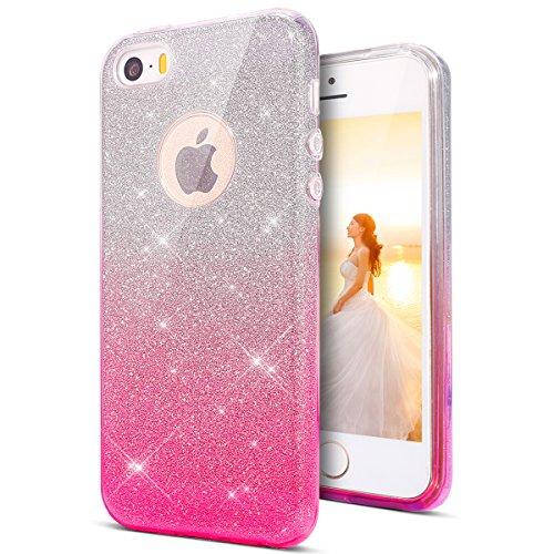 KunyFond, cover protettiva per Apple iPhone SE, iPhone 5S, iPhone 5, in silicone TPU, trasparente, con brillantini, morbida e sottile, antiurto e antigraffio Gradient Rosa