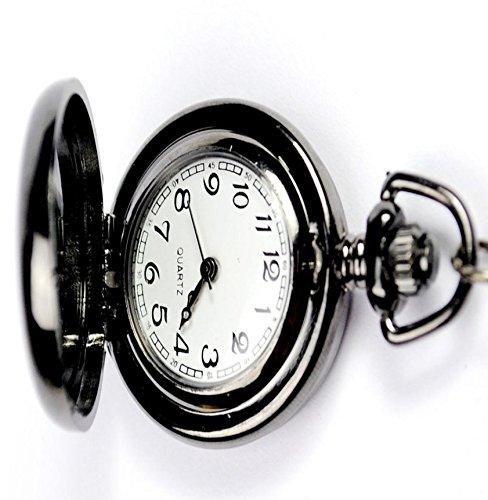 yeah67886Hombres de moda retro suave acero inoxidable caso Dial romano números moderno reloj de bolsillo con cadena