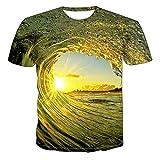 Camiseta de Manga Corta Camisa 3D Camisetas 3D con Estampado De Ondas Digitales, Cuello Redondo, Manga Corta Unisex para Verano, Divertido Europeo Y Americano S-6Xl L Txu-1714