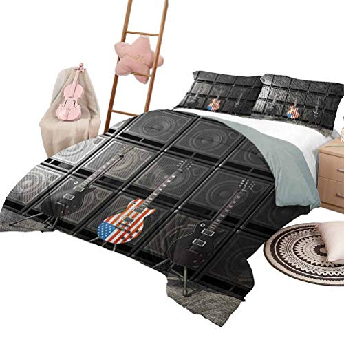 Daybed Quilt Set American Flag Custom Bedding Machine Washable Black and Us Bass Guitar Electronic Rock Music Theme Digital Graphic Work King Size Multicolor