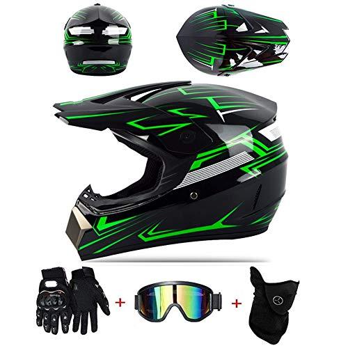 LZSH Professioneller Motocross Helm, Adult Kids Off Road Helm Mit Handschuhe Maske Brille, Unisex Motorradhelm Cross Helme Schutzhelm ATV Helm Kinder Quad Bike ATV Go-Kart-Helm (B,S)