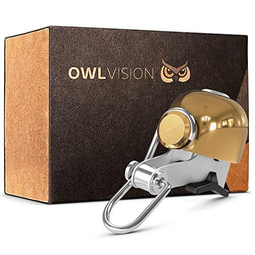 OWL VISION - Hochwertige Fahrradklingel Stylus [chrome] [universal passend] Fahrrad Klingel Retro mit sehr klarem Klang - Premium Fahrradglocke Mountainbike Rennrad - MTB & Fahrrad Zubehör - Klingel Glocke Ring