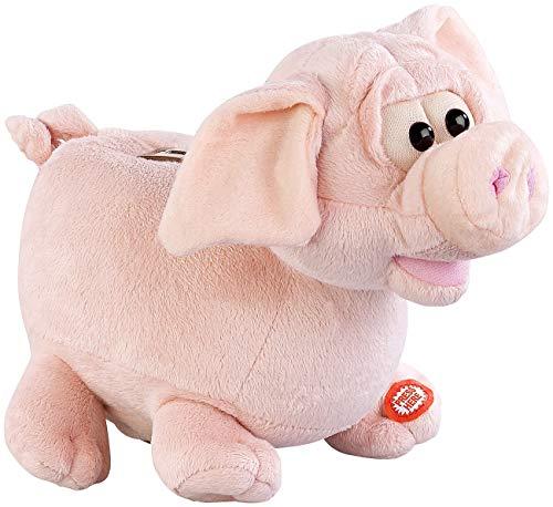 infactory Spardose mit Sound: Grunzendes Plüsch-Sparschwein mit wackelnden Ohren, Batteriebetrieb (Spardose Kinder)