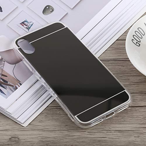 THengGUIFANG-PHONE Case dunne beschermhoes voor spiegel gecoat, krasbestendig van acryl + TPU voor iPhone XS Max proactieve afdekking, zwart.