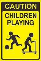 子どもたちの遊びを見る メタルポスタレトロなポスタ安全標識壁パネル ティンサイン注意看板壁掛けプレート警告サイン絵図ショップ食料品ショッピングモールパーキングバークラブカフェレストラントイレ公共の場ギフト