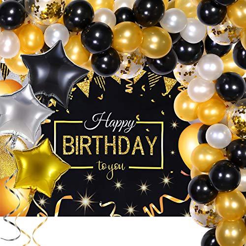 Forniture Feste Compleanno Kit Ghirlanda Arco Palloncino Coriandoli Oro Nero Bianco con Banner Sfondo di Buon Compleanno Glitterato per Uomini Donne 20° 30° 40° 50° 60° 70° Decor Compleanno