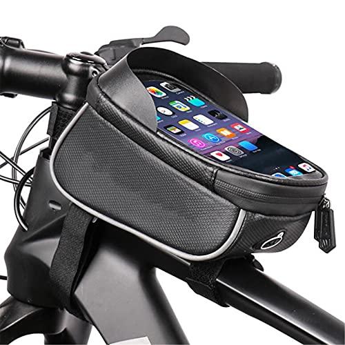 FastUU Bolsa De Marco De Bicicleta, Bolsa De Teléfono Móvil A Prueba De Agua con Pantalla Táctil Sensible TPU, Adecuado para Teléfonos Inteligentes Menores De 6,2 Pulgadas,18.5×11×9.5cm