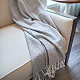 MOTINI Grey Throw Blanket Plaid Pattern Decorative Cozy Knit Blankets Gray and White Weave Throws with Fringe Tassel 50'x60', 100% Cotton Thermal Blanket for Couch Bed Sofa