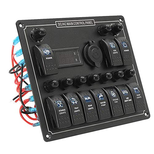 WPFC Marine Boat Rocker Switch-Panel, 10 Gang Mit Zigarettenanzünderbuchse, Digital Voltmeter - Blaue LED-Licht