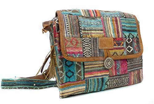 feelz - Bunte gewebte Tasche mit Lederriemen, Damen Handtasche, Herren Tasche, Schultertasche, Umhängetasche, bunt - Handarbeit Fairtrade