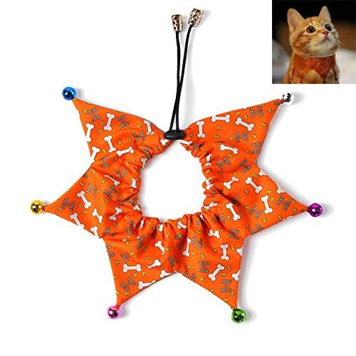 Urisgo Halloween Hondenhalsband met klok, verstelbare hondenhalsband, met wasbare sjaal, voor huisdieren, voor honden en katten, fotoaccessoires, voor huisdieren