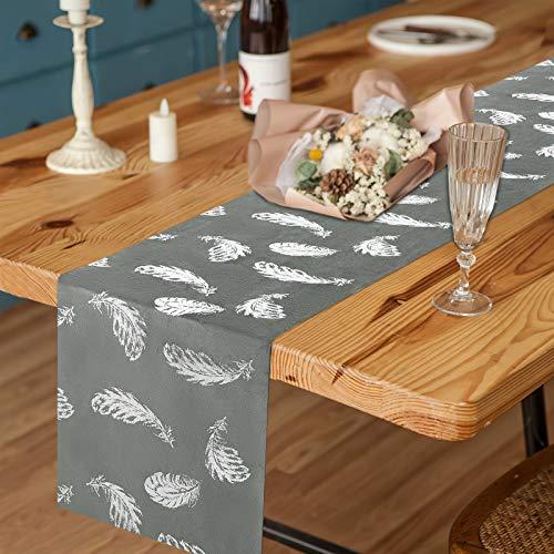 Elloevn Camino de mesa gris de terciopelo brillante, elegante con estampado de plumas, camino de mesa largo para bodas, fiestas, 28 x 274 cm