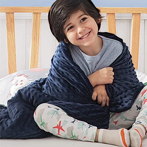 """Bedsure Weighted Blanket for Kids with Removable Duvet Cover - Baby Throw Blanket 7lbs, Premium Cotton with Glass Beads 41""""×60"""" Navy"""