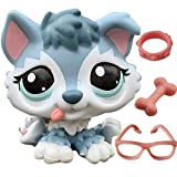 Hasous LPS Shorthair Cat Kitten LPS Collie Great Dane Cocker Spaniel Dachshund Husky Dog Puppy with Accessories Toy Figure Collection Lot Kids Boys Girls Xmas Birthday Gift (lps Husky 1810)
