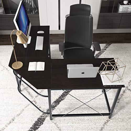 DlandHome L Escritorio de la computadora Gaming Mesa 150cm + 150cm, Ordenador Portátil para PC Estación de Trabajo de Estudio Mesa de Esquina con CPU Stand, Marrón Oscuro & Negro