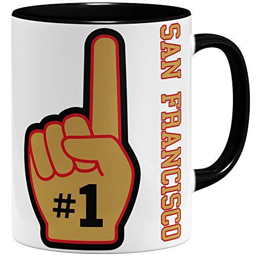 OM3 Number One #1 San Francisco - Tasse | Keramik Becher | 11oz 325ml | Beidseitig Bedruckt | Schwarz