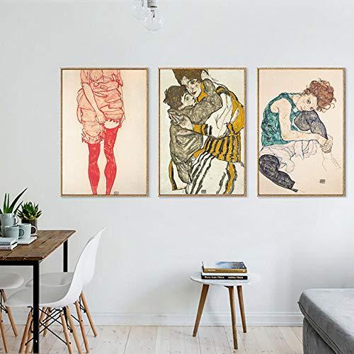 Body kleur eyeliner tekening canvas kunst schilderij poster woonkamer muurschildering woondecoratie 40x60cmx3 (frameloze)