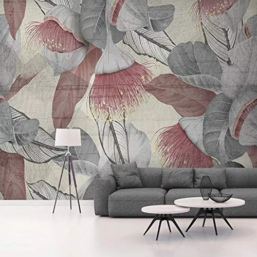 Custom Mural Modern Hand Painted Abstract Leaves Bedroom Living Room Sofa Decoration Wall Painting Waterproof Canvas Wallpaper, 250cm×175cm