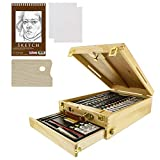 US Art Supply 62-Piece Wood Box Easel Painting Set- Box Easel, Acrylic & Oil Paint Colors, Artist Pastels, Painting Brushes, Wood Palette, Palette Knife, Pencil, Oil Pastels, Canvas Panels, Sketch Pad