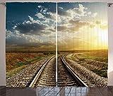 ABAKUHAUS Vías de Tren Cortinas, Ferrocarril va Horizonte, Sala de Estar Dormitorio Cortinas Ventana Set de Dos Paños, 280 x 260 cm, Multicolor