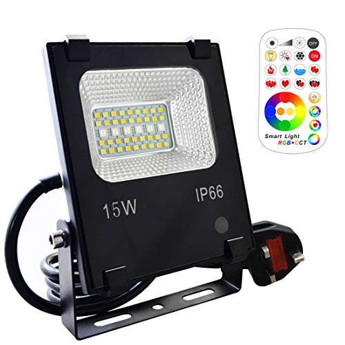 Mobri 15W LED Floodlight,Outdoor/Indoor Colour Changing Flood Lights with Remote Control, 120 RGB Colours, Warm White and Cool White Adjustable, UK 3-Plug, Waterproof IP66
