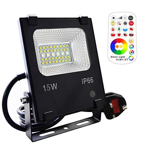 Mobri LED-Flutlicht, 15 W, Außen/Innenbereich, Farbwechsel, Flutlicht mit Fernbedienung, 120 RGB-Farben, Warmweiß und Kaltweiß, verstellbar, UK-3-Stecker, wasserdicht IP66