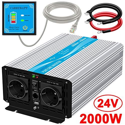 CARRYBATT 2000W Reiner Sinus Wechselrichter Spannungswandler 24V auf 230V mit 5 Meter Fernbedienung mit Dual-AC-Ausgängen & 2.1A USB-Anschluss-Spitzenleistung 4000 Watt