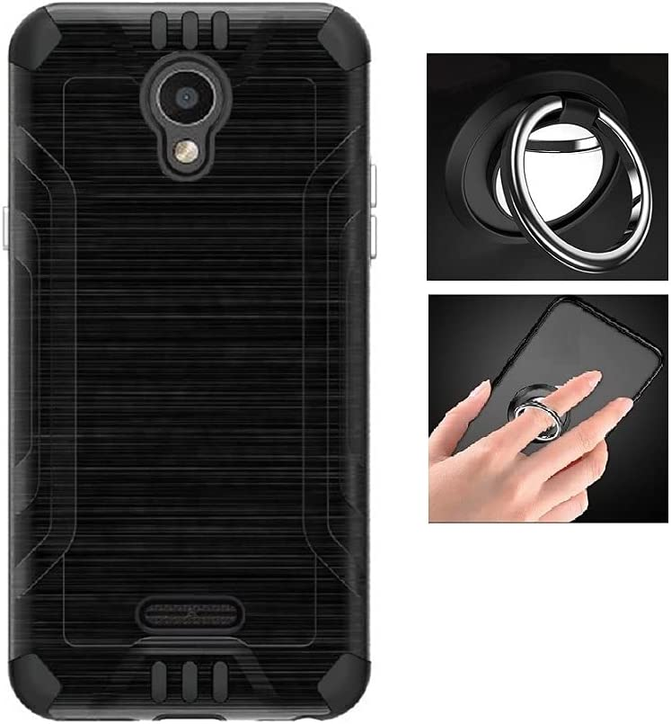 Phone Case for AT&T Calypso U318AA/ Cricket Vision 3/ Cricket Debut 4G LTE, Dual Layer Metallic Brushed Shock-Resistant Cover Case + Ring (Black-Black)