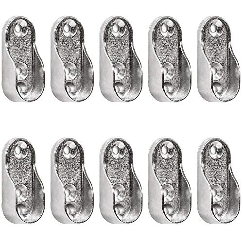 10 Pieces Oval Wardrobe Rail Supports For Clothes Rail/Wardrobe Rail Holder Silver