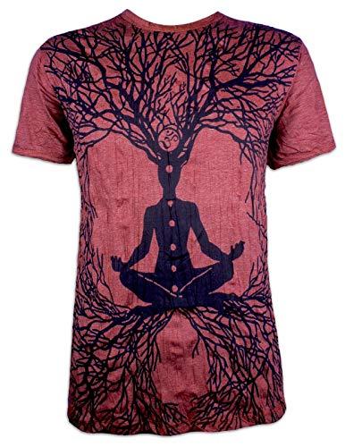 Sure Herren T-Shirt Wicca Art Guru Magie Psychedelic Yoga Goa Trance Hippie Yogi (Bordeaux XL)