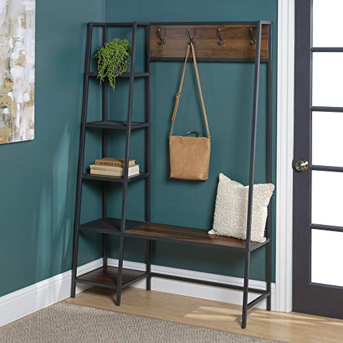 Walker Edison Furniture 5 Shelf Entryway Bench Hall Tree Storage Coat Rack, 72 Inch, Walnut Brown (AZT72ASSDW)