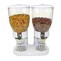 Pratico dispenser a due scomparti (1/2kg l'uno) per un totale di 1kg, per corn flakes, müsli e cereali. Materiale: plastica. Colore: bianco. Dimensioni: 43,2 x 33 x 20,3 cm (altezza x lunghezza x profondità).