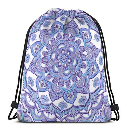 Hdadwy Lilac Spring Doodle Flower Sport Bag Gym Sack Drawstring Backpack for Gym Shopping