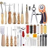 Craft cuero de costura Herramientas, arte de la mano suministros de costura de cuero de herramientas de bricolaje herramientas de perforación de la aguja para el trabajo del cuero 53pcs Proyectos
