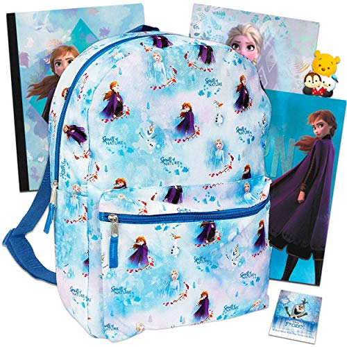 Disney Frozen Backpack Set Girls Kids - 6 Piece Disney Frozen School Backpack Bag Set with Notebook, 2 Folders, Stickers and More (Disney Frozen School Supplies)