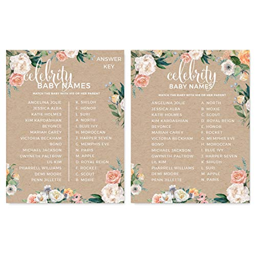 Andaz Press Peach Kraft Brown Rustic Floral Garden Party Baby Shower Collection, Celebrity Name Game Cards, 20-Pack, Games Activities and Decorations