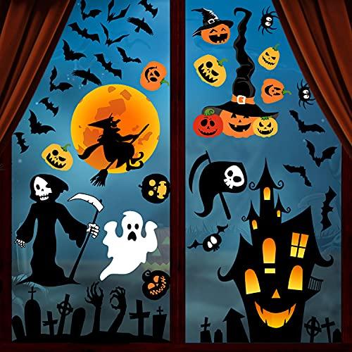 Svanco Halloween Aufkleber Halloween fenster aufkleber Abnehmbare Wandaufkleber Doppelseitig Elektrostatische Sticker Sensenmann Hexe Halloween Zubehör für Halloween Party DIY Deko