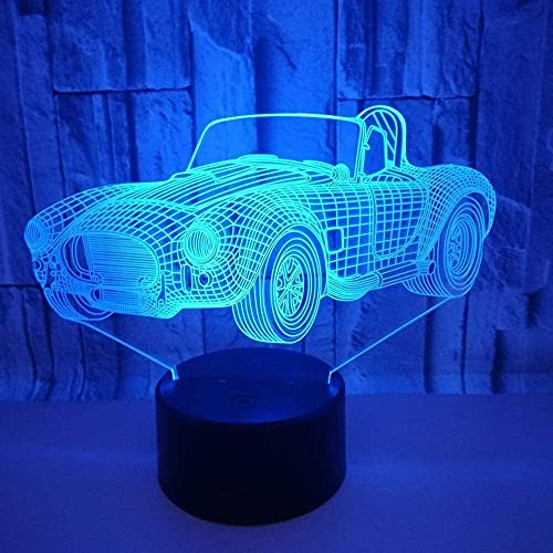 nakw88 Coche Convertible LED Color de luz Degradado 3D estéreo táctil Remoto USB luz de Noche mesita de Noche Decorada con imaginación Regalos de Cumplea?os 20 * 13 cm Lámpara de Mesa