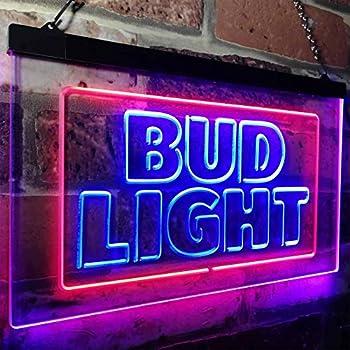 zusme Buds Light New Beer Bar Novelty LED Neon Sign Blue + Red W12 x H8