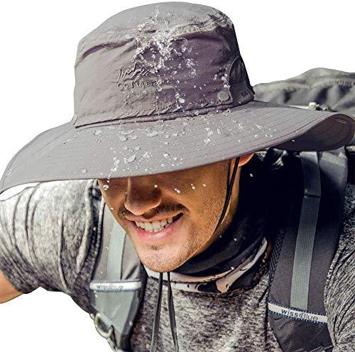 Cooltto Cappello da Pesca Antivento Cappelli alla Pescatora da Uomo Spazioso Traspirante e Impermeabile con Protezione UV UPF50+ per Ciclismo Arrampicata Canottaggio Giardinaggio-Cachi
