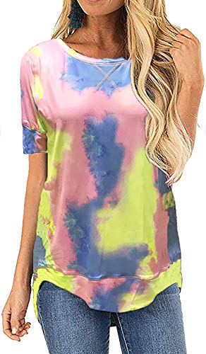 OURS Women Tie Dye Tee Shirts Casual Loose Fit Short Sleeves Round Neck Tops (XL, Tie Dye)