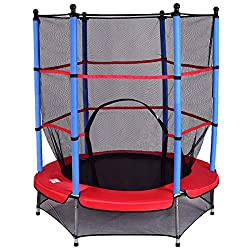 COSTWAY Trampolin mit Sicherheitsnetz | Gartentrampolin | Kindertrampolin | Fitness Trampolin | Indoor-/Outdoortrampolin Sprungmatte Ø140cm
