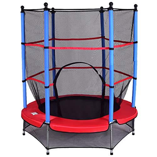 COSTWAY Trampolin mit Sicherheitsnetz | Gartentrampolin | Kindertrampolin | Fitness Trampolin | Indoor-/Outdoortrampolin Sprungmatte Ø140cm