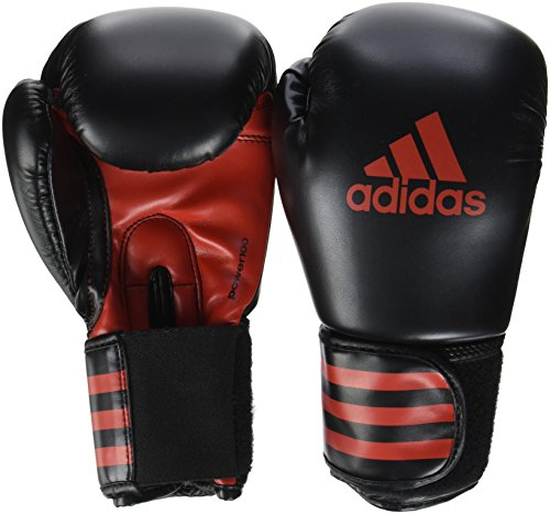 adidas Power 100 Guantes de Boxeo, Color Negro/Rojo, 6 oz