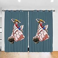 ワンピース One Piece4 カーテン 1級遮光 2枚組 幅132cm丈213cm 断熱 防寒 防音 省エネ 厚手 寝室用 リビング用 カーテンセット 洗える 寝室 リビング用