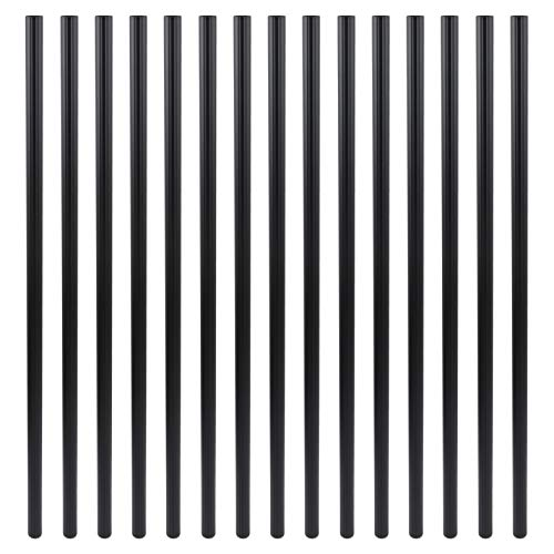 Myard 29 Inches Grooved Classic Hollow Round Aluminum Deck Balusters for Deck Railing Porch (50-Pack, Matte Black)