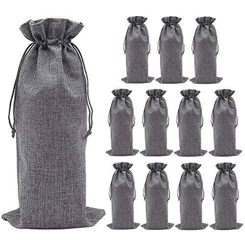 Shintop 12 Stück Sackleinen Wein Taschen, 14 x 6 1/4 Zoll Weinflasche Geschenk Taschen mit Kordelzug für Party, Hochzeit, Blind Tasting Decor (Grau)