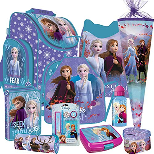 Disney Frozem Schulranzen Ranzen Schulranzenset Schulrucksack Set 10 teilig mit Schultüte 85 cm. 6 eckig Bastelschürze Brotdose Trinkflasche