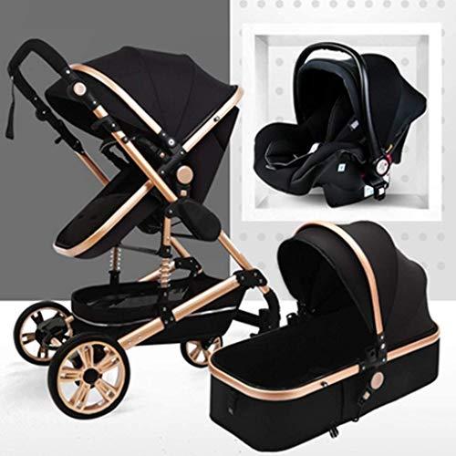 YZPTD Carrera de bebé con visión Alta, Puede Sentarse liviano reclinable, Cochecito de Lujo Plegable de Lujo Anti-Shock Cochecito, arnés de Puntos y Cesta de Almacenamiento Alta (Color : Negro)