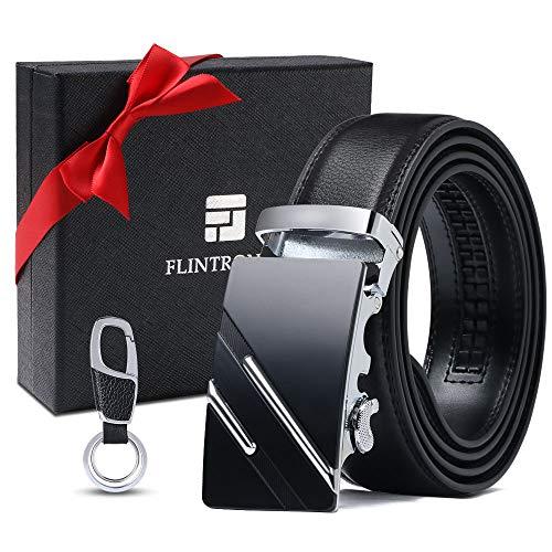 flintronic Cintura Uomo, Cintura da Uomo in Pelle con Fibbia Automatica, Moda Cintura a Cricchetto 3.5cm * 130cm, con Portachiavi e Confezione Regalo